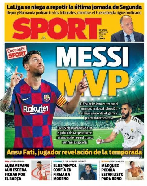 Газеты: Месси MVP Ла Лиги; Кислород для Лиги Чемпионов