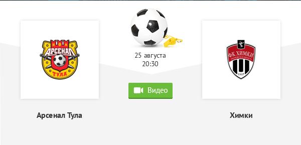 Футбол. Российская премьер-лига. 5-й тур. Арсенал Тула - Химки. 25.08.20. Мой прогноз